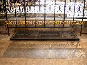 Peterborough Cathedral, the grave of Katherine...