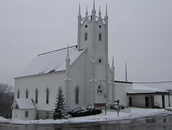Petitcodiac Baptist Church on the banks of the Petitcodiac River