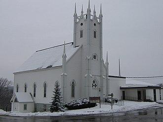 Petitcodiac, New Brunswick - Petitcodiac Baptist Church on the banks of the Petitcodiac River