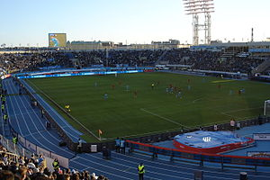 Petrovsky Stadium in Saint Petersburg, Russia. View at the sectors during the match Zenit SPb-Bayern Munchen.JPG