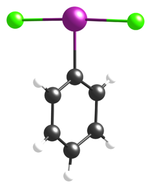 Iodobenzene dichloride - Image: Ph I Cl 2 from xtal 1996 3D CM balls