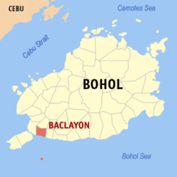 Map of Bohol with Baclayon highlighted