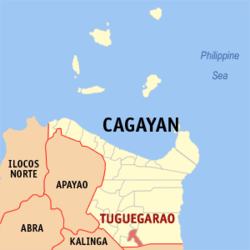 Map of Cagayan showing the location of Tuguegarao