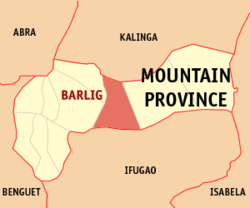 Map of Mountain Province showing the location of Barlig