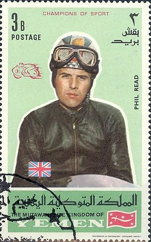 Phil Read - Read appeared on a 1969 Yemeni stamp