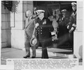 Photograph of President Truman and Vice Admiral Aubrey Fitch, Superintendent of the U.S. Naval Academy, leaving... - NARA - 198663.tif