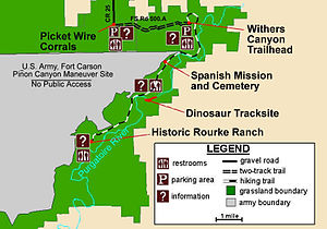Comanche National Grassland - A map of Picketwire Canyon and its trails.