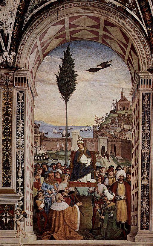 Pinturicchio, Libreria Piccolomini, Pio II giunge ad Ancona per dare inizio alla crociata