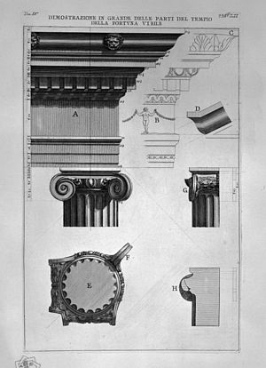 Ionic order - Etching by Piranesi of the Temple of Portunus; the volute at a corner (bottom left) projects at 45°.