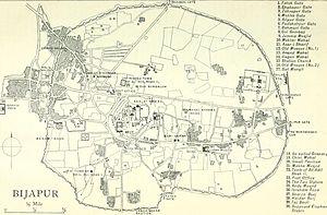 Bijapur - Plan of Bijapur, 1911