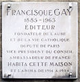 Plaque Francisque Gay, 3 rue Garancière, Paris 6.jpg