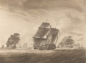 Lady Juliana (1777 ship) - Image: Plate II. The Lady Juliana in tow of the Pallas Frigate. The Sailors Fishing the main Mast which was shatter'd by Lightning RMG PY8432 (cropped)