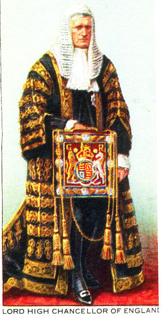 Lord Chancellor - The uniform of the Lord High Chancellor, depicted on a cigarette card produced for the Coronation of King George VI and Queen Elizabeth in 1937.
