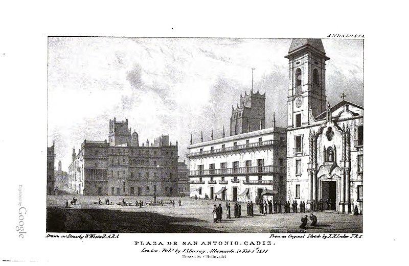 File:Plaza de San Antonio, Cádiz 1824 Edward Hawke Locker.jpg