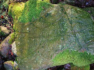Ard (plough) - Score marks (ard marks) from a rip ard on a boulder in a clearance cairn.