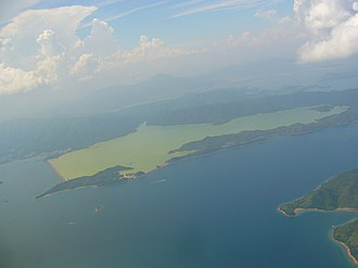 Reservoir - Aerial view of Plover Cove  coastal reservoir.