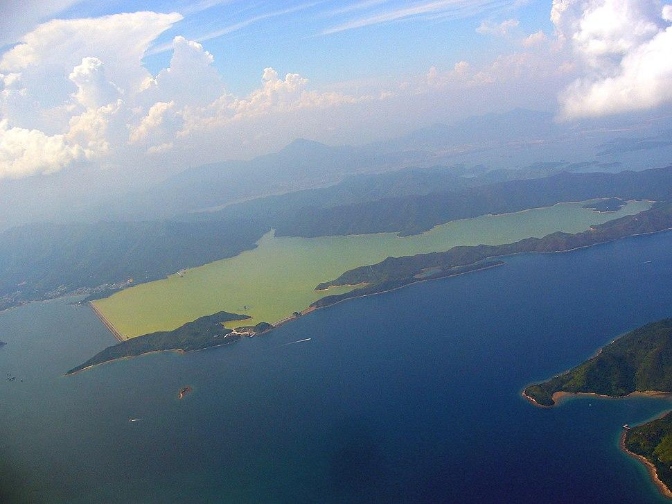 Plover Cove Reservoir form a plane