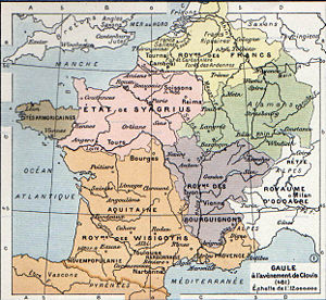 The Frankish Kingdom and the political divisions of Gaul at the inception of Clovis' career (481). Only in the northern and eastern parts of the original Austrasian kingdom Frankish was spoken