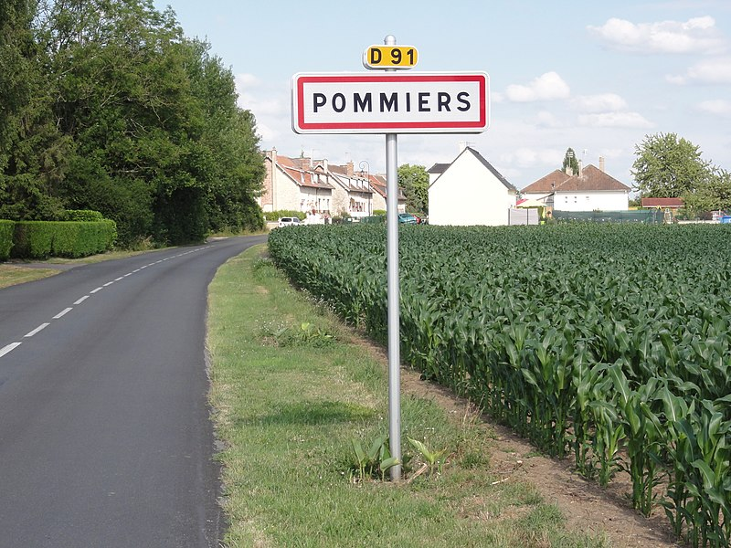 Pommiers (Aisne) city limit sign