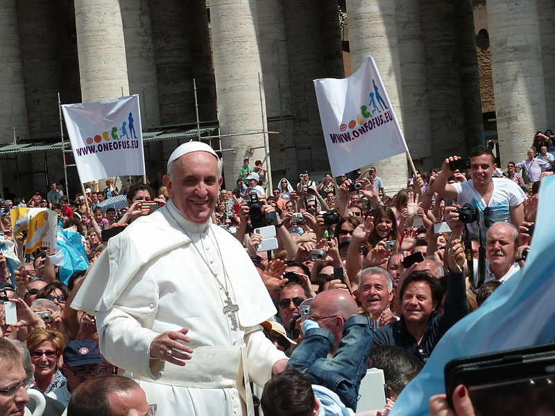 File:Pope Francis among the people at St. Peter's Square - 12 May 2013.jpg