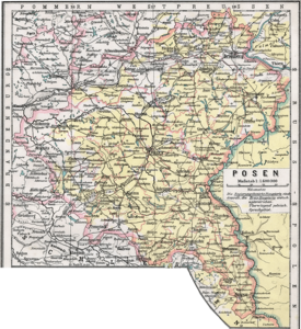 Map of the province of Posen 1905 (yellow: mostly Polish-speaking area)