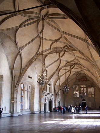 Gothic secular and domestic architecture - The Vladislav Hall in Prague (built 1493-1502) by Benedikt Rejt is the largest secular hall of the late Middle Ages.