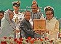 Pranab Mukherjee being presented the Bangladesh Liberation War Honour by the President of Bangladesh, Mr. Md. Zillur Rahman, at Dhaka, Bangladesh. The Prime Minister of Bangladesh Mrs. Sheikh Hasina is also seen.jpg