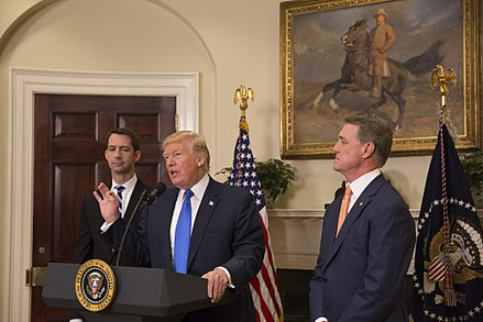 Tom Cotton (left) with President Donald Trump and Senator David Perdue (right) President Donald J. Trump, Senator Tom Cotton, and Senator David Perdue, August 2, 2017 (36182228582).jpg