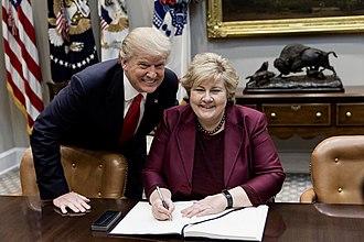 Erna Solberg - Solberg and U.S. President Donald Trump in 2018