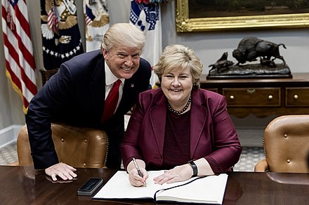 Prime Minister of Norway Erna Solberg (since 2013) and U.S. President Donald Trump in 2018. President Donald Trump and Prime Minister Erna Solberg; January 2018.jpg