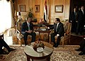 President George W. Bush and President Hosni Mubarak of Egypt during a meeting at the Red Sea Summit.jpg