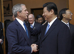 Xi Jinping - Xi Jinping greeting U.S. President George W. Bush in August 2008.