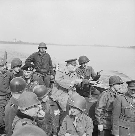 Churchill's crossing of the Rhine river in Germany, during Operation Plunder on 25 March 1945 Prime Minister Winston Churchill Crosses the River Rhine, Germany 1945 BU2248.jpg