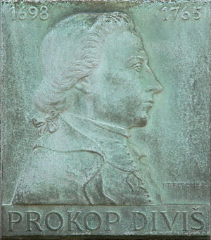 Prokop Diviš - Plaque of Prokop Diviš by Jan Tomáš Fischer (1912–1957) at the former Jesuit gymnasium on Jezuitské Square in Znojmo