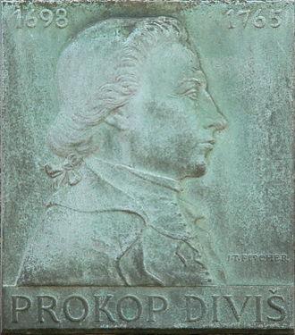 Prokop Diviš - Plaque of Prokop Diviš by Jan Tomáš Fischer (1912–1957) at the former Jesuit gymnasium on Jezuitské Square in Znojmo