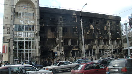 The charred shell of the prosecutor's office in Bishkek, which caught fire during the demonstrations. Prosecutors office burned bishkek.JPG