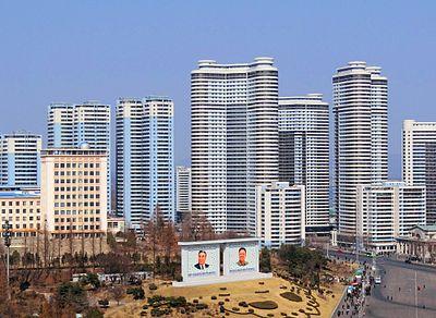 Modern apartment block in Pyongyang