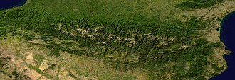 Pyrenees - Composite satellite image of the Pyrenees (NASA)