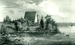 Pyhtää - The medieval church of Pyhtää. Lithography by Johan Knutson, mid 19th century.