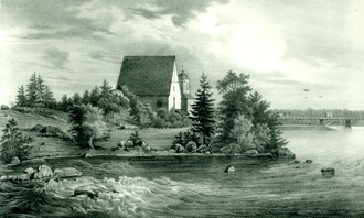 Pyhtää - The medieval church of Pyhtää. Lithography by Johan Knutson, mid 19th century.