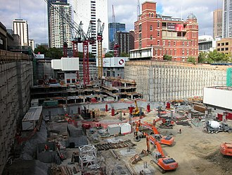 Queen Victoria Village - The construction site in March 2002