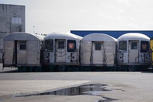 R42 (New York City Subway car) - Retired R42 cars awaiting processing at Sims Metal Management in Newark, New Jersey.