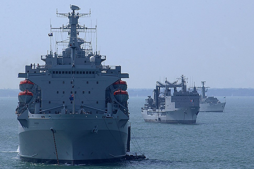 RFA Argus, FS Meuse and RS Regina Maria at anchor in the Solent, in readiness for the International Fleet Review. MOD 45145024