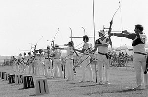 Archery at the 1980 Summer Olympics - Image: RIAN archive 103498 The contest in archery during the XXII Olympic Games