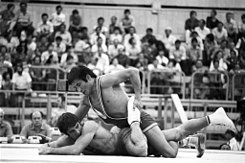 RIAN archive 556154 Wrestlers Valentin Raychev and Jamtsyn Davaajav during their match.jpg