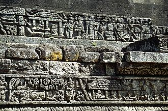 Candi bentar - A candi bentar structure appears in a relief at the 13th-century Candi Jago.