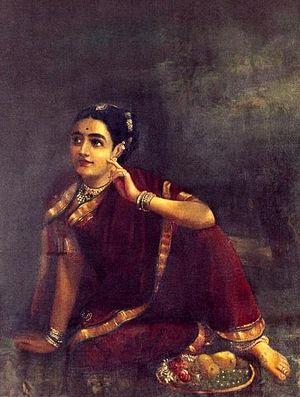 Radha - Radha's story has inspired many paintings. Above: Radha waiting for Krishna by Raja Ravi Varma.