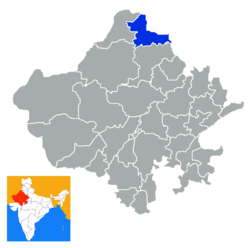 Location of Hanumangarh district in Rajasthan