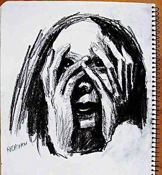 Conté - Page from a sketchbook using black Conté crayon.