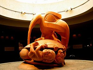Canadian folklore - Bill Reid's  sculpture Raven and The First Men, showing part of a Haida creation myth.  The Raven represents the Trickster figure common to many mythologies.  The work is in the University of British Columbia Museum of Anthropology, Vancouver.